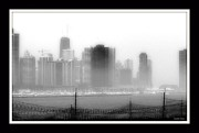 Chicago Black White Digital Art Posters - Chicago  Black N White While Under Consturction In The Fog Poster by Rosemarie E Seppala