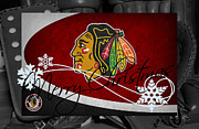 Puck Framed Prints - Chicago Blackhawks Christmas Framed Print by Joe Hamilton