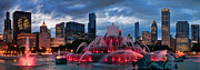 Fountain Photos - Chicago Blackhawks Skyline by Jeff Lewis