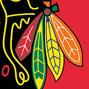 Beige Paintings - Chicago Blackhawks by Tony Rubino