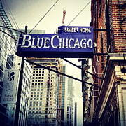 Chicago Blues Posters - Chicago Blue Poster by Lynne Dohner