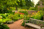 Brick Prints - Chicago Botanic Garden Bench Print by Steve Gadomski