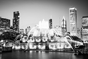 Lighted Park Framed Prints - Chicago Buckingham Fountain Black and White Picture Framed Print by Paul Velgos