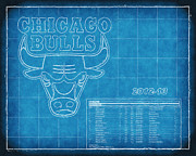 Nba Playoffs Prints - Chicago Bulls Blueprint Print by Joe Myeress