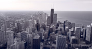 Aerial Prints - Chicago BW Print by Steve Gadomski