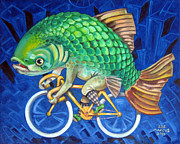 Fixed Gear Posters - Chicago Carp Poster by Ellen Marcus