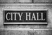 Plaque Photo Prints - Chicago City Hall Sign in Black and White Print by Paul Velgos