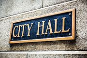 Plaque Prints - Chicago City Hall Sign Print by Paul Velgos