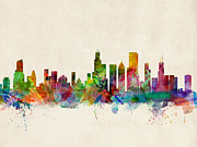 Watercolor Digital Art Posters - Chicago City Skyline Poster by Michael Tompsett