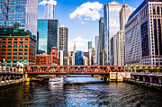 Famous Buildings Posters - Chicago Cityscape at Wells Street Bridge Poster by Paul Velgos