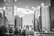 Airlines Prints - Chicago Cityscape Black and White Picture Print by Paul Velgos