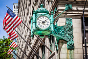 Editorial Photo Framed Prints - Chicago Clock on Macys Marshall Fields Building Framed Print by Paul Velgos