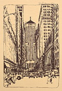 Printed Drawings Posters - Chicago Commodities Exchange Bldg Poster by Robert Birkenes