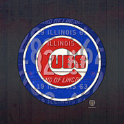 Baseball Art Mixed Media Posters - Chicago Cubs Baseball Team Retro Vintage Logo License Plate Art Poster by Design Turnpike