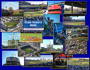 Cubs Baseball Park Framed Prints - Chicago Cubs Collage Framed Print by Thomas Woolworth