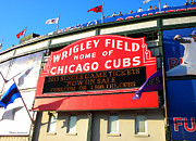 Cubs Baseball Park Prints - Chicago Cubs Marquee Sign Print by Thomas Woolworth