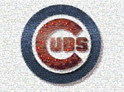 Chicago Cubs Field Framed Prints - Chicago Cubs Mosaic Framed Print by David Bearden