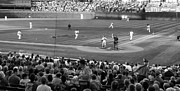 Black And White Ball Park Framed Prints - Chicago Cubs On The Defense Framed Print by Thomas Woolworth