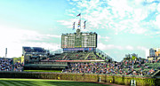 Cubs Baseball Park Prints - Chicago Cubs Scoreboard 01 Print by Thomas Woolworth