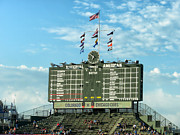Cubs Baseball Park Prints - Chicago Cubs Scoreboard 02 Print by Thomas Woolworth