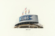 Wrigley Field Drawings - Chicago Cubs Scoreboard by Ken Hank