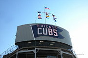 Cubs Baseball Park Prints - Chicago Cubs Signage Print by Thomas Woolworth
