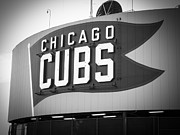 Black And White Ball Park Framed Prints - Chicago Cubs Wrigley Field Sign Black and White Picture Framed Print by Paul Velgos