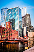 Lasalle Street Framed Prints - Chicago Downtown at LaSalle Street Bridge Framed Print by Paul Velgos