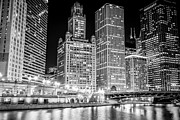 East River Drive Framed Prints - Chicago Downtown at Night Black and White Picture Framed Print by Paul Velgos