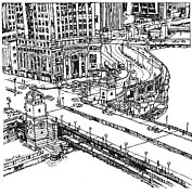 Downtown Drawings Metal Prints - Chicago Downtown view of Michigan Ave. and Wacker Dr. Metal Print by Robert Birkenes