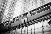 Elevated Posters - Chicago Elevated El Train in Black and White Poster by Paul Velgos
