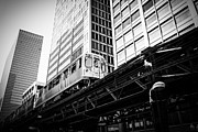 Famous Buildings Posters - Chicago Elevated L Train in Black and White Poster by Paul Velgos