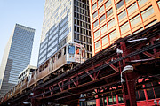 Elevated Posters - Chicago Elevated L Train with Downtown Buildings Poster by Paul Velgos