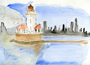 Lighthouse Drawings - Chicago by Eva Ason