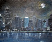 Skylines Mixed Media Framed Prints - Chicago Evening Blues Framed Print by Amanda Baumgartner