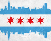 Urban Buildings Mixed Media Posters - Chicago Flag Poster by Mike Maher