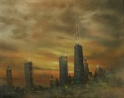 City At Night Paintings - Chicago Fog by Tom Shropshire