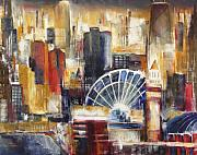 Chicago At Night Paintings - Chicago From Navy Pier by Kathleen Patrick