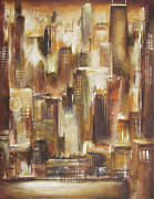Skylines Painting Originals - Chicago -From The Lake by Kathleen Patrick