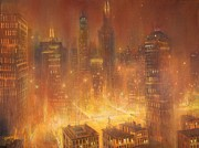City Night Scene Paintings - Chicago Gold by Tom Shropshire