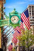 Chicago Great Clock On Macys Building Print by Paul Velgos
