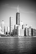 Skyline Photo Prints - Chicago Hancock Building Black and White Picture Print by Paul Velgos