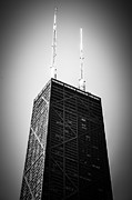 Chicago Black White Posters - Chicago Hancock Building in Black and White Poster by Paul Velgos
