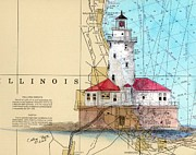 Illinois Painting Framed Prints - Chicago Harbor Lighthouse IL Nautical Chart Map Art Cathy Peek Framed Print by Cathy Peek