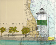 Illinois Painting Framed Prints - Chicago Harbor SE Guidewall Lighthouse IL Nautical Chart Art Framed Print by Cathy Peek