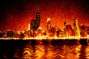 Red Buildings Digital Art Posters - Chicago Hell Digital Painting Poster by Paul Velgos