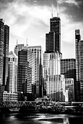 Urban Buildings Framed Prints - Chicago High Resolution Picture in Black and White Framed Print by Paul Velgos