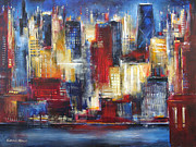 Skylines Painting Posters - Chicago In The Evening Poster by Kathleen Patrick