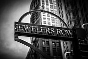 Editorial Framed Prints - Chicago Jewelers Row Sign in Black and White  Framed Print by Paul Velgos