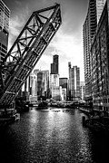 Urban Buildings Prints - Chicago Kinzie Street Bridge Black and White Picture Print by Paul Velgos